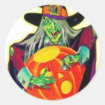 Halloween Retro Vintage Pumpkin Carving Witch Round Sticker