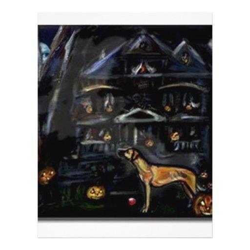 Halloween Rhodesian Ridgeback Haunted house Flyer