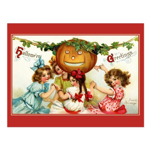 Halloween Ring Around the Rosie Post Cards