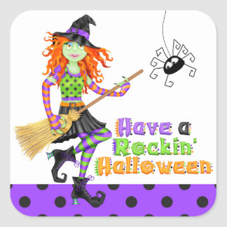 Halloween Rockin' Witch with Broom Square Sticker