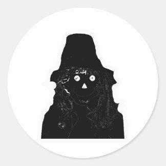 Halloween Scarecrow Black The MUSEUM Zazzle Gifts Round Sticker
