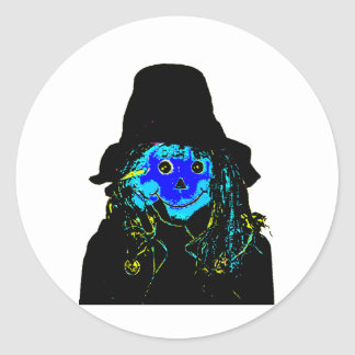 Halloween Scarecrow Blue The MUSEUM Zazzle Gifts Round Sticker