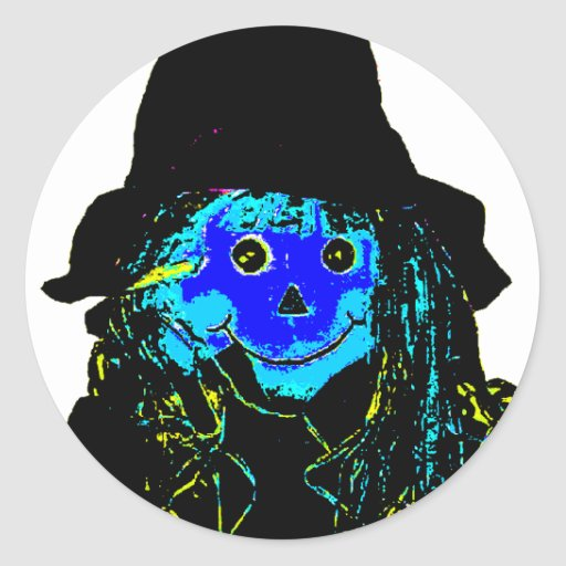Halloween Scarecrow Blue The MUSEUM Zazzle Gifts Sticker