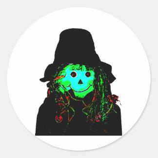 Halloween Scarecrow Cyan The MUSEUM Zazzle Gifts Round Sticker