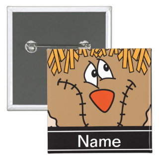 Halloween Scarecrow Face Personalize 2 Inch Square Button