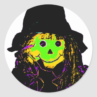 Halloween Scarecrow Green The MUSEUM Zazzle Gifts Round Sticker