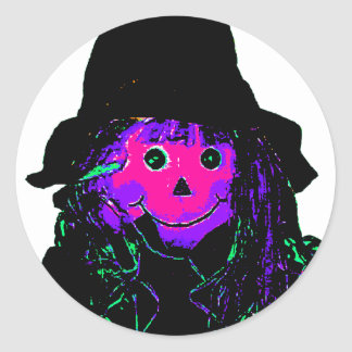 Halloween Scarecrow Magenta The MUSEUM Zazzle Gift Round Stickers