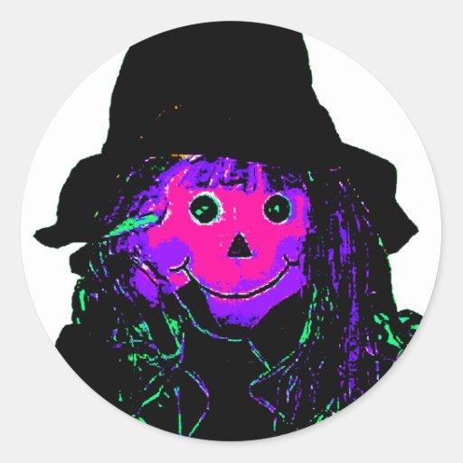 Halloween Scarecrow Magenta The MUSEUM Zazzle Gift Round Stickers