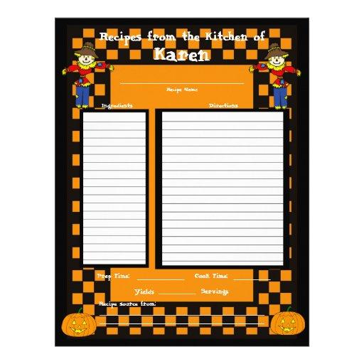 Halloween Scarecrow Recipe Page Customized Letterhead