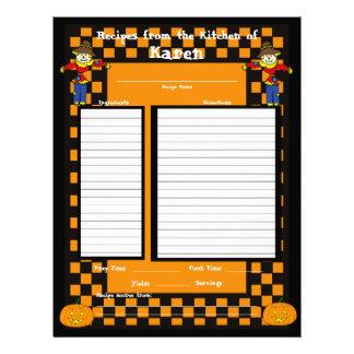 Halloween Scarecrow Recipe Page Letterhead Template