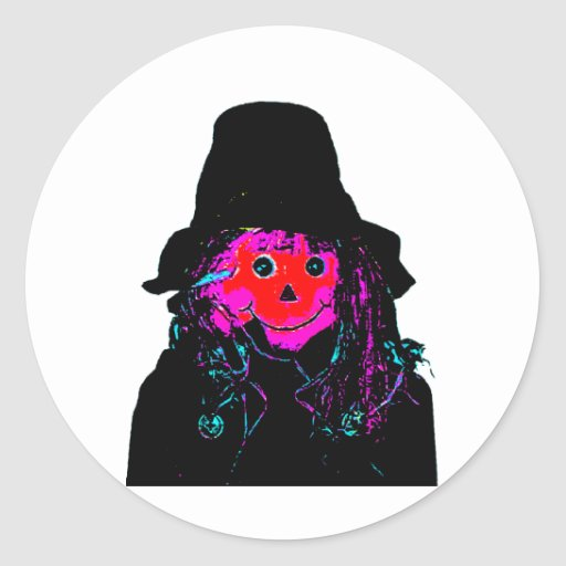 Halloween Scarecrow Red The MUSEUM Zazzle Gifts Round Sticker