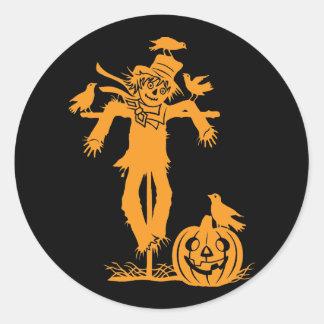 Halloween Scarecrow Silhouette Stickers Round Stickers