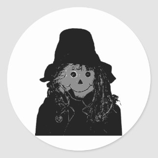 Halloween Scarecrow Silver The MUSEUM Zazzle Gifts Round Sticker
