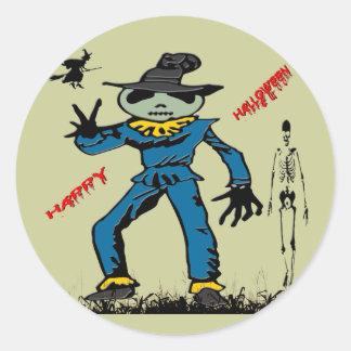 Halloween Scarecrow Round Sticker
