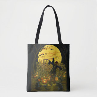Halloween scarecrow tote bag