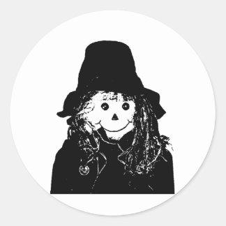 Halloween Scarecrow White The MUSEUM Zazzle Gifts Round Sticker
