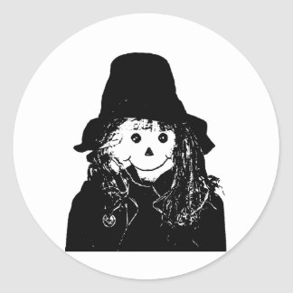 Halloween Scarecrow White The MUSEUM Zazzle Gifts Round Stickers