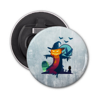 Halloween Scarecrow With Bats Crow And Owl Button Bottle Opener