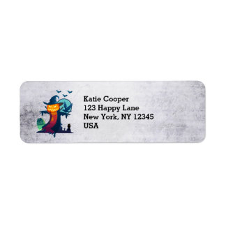 Halloween Scarecrow With Bats Crow And Owl Return Address Label