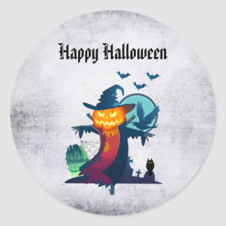 Halloween Scarecrow With Bats Crow And Owl Round Sticker