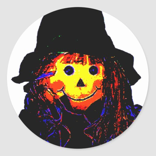 Halloween Scarecrow Yellow The MUSEUM Zazzle Gifts Round Sticker