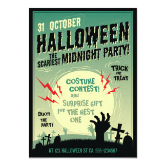Halloween Scariest Zombie Midnight Party Card
