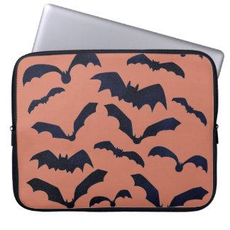 Halloween Scary Black Bats Orange Laptop Sleeve