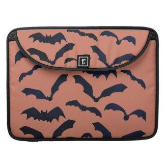 Halloween Scary Black Bats Orange Macbook Sleeve
