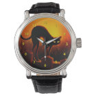 Halloween Scary Black Cat Glowing Eyes Watch