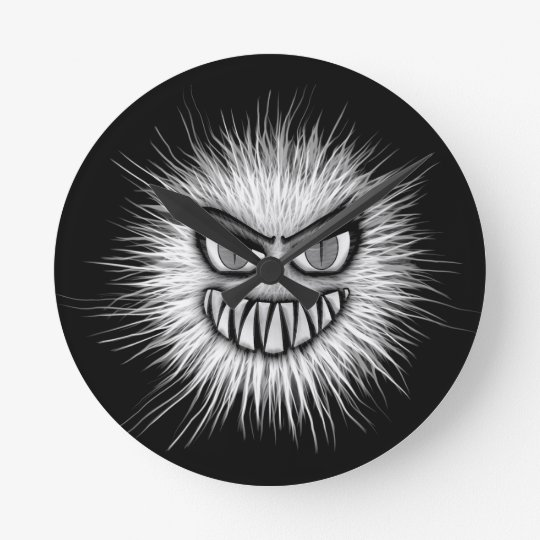 Halloween Scary Monster Round Clock