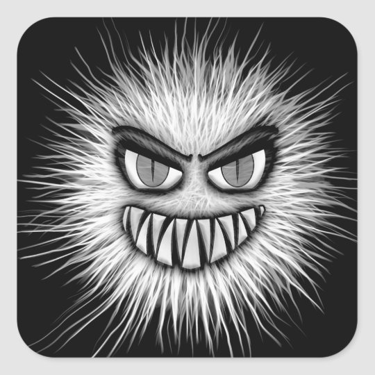 Halloween Scary Monster Square Sticker
