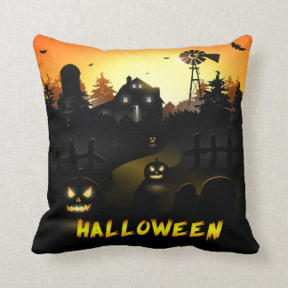 Halloween Scary Pumpkin Scene Throw Pillow