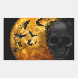Halloween Scary Scene 12 BLK Skull & Bats Sticker