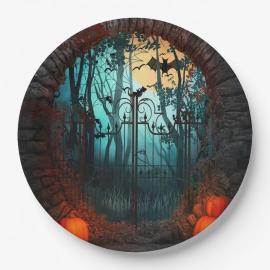 Halloween Scary Scene (2) Both Sizes 9 Inch Paper Plate