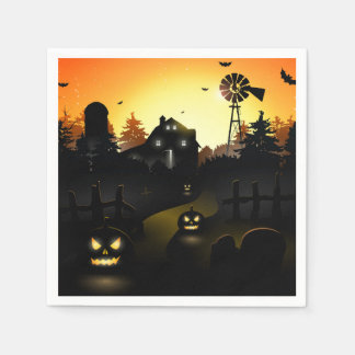 Halloween - Scary Scene 4 Windmill Paper Napkins