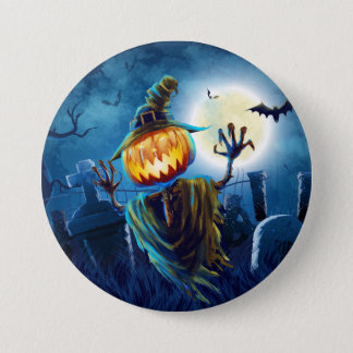 Halloween Scary Scene (5) Pumpkin All Options 3 Inch Round Button