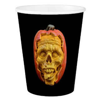 Halloween Sculpted Jack-O'-Lantern Scary Face Paper Cup