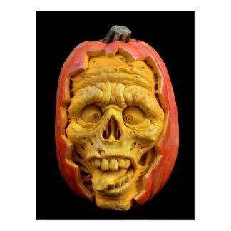 Halloween Sculpted Jack-O'-Lantern Scary Face Postcard