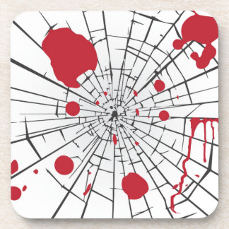 halloween shattered glass beverage coasters