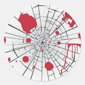 halloween shattered glass classic round sticker