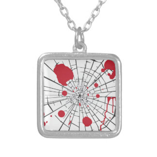 halloween shattered glass silver plated necklace