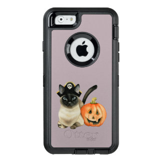 Halloween Siamese Cat with Jack O' Lantern OtterBox Defender iPhone Case