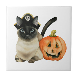 Halloween Siamese Cat with Jack O' Lantern Tile