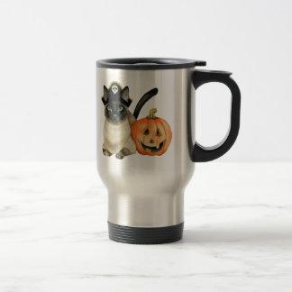 Halloween Siamese Cat with Jack O' Lantern Travel Mug