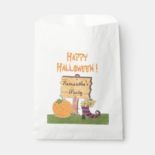 Halloween sign kids personalized party favour bags
