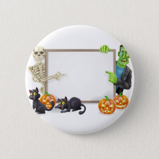Halloween Sign with Skeleton and Frankenstein 2 Inch Round Button
