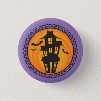 Halloween Silhouettes Haunted House Badge 1 Inch Round Button