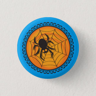 Halloween Silhouettes Spider and Web Badge 1 Inch Round Button