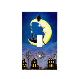 Halloween single light switch cover,black,cat,moon switch plate covers