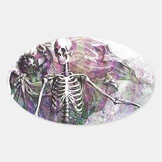 Halloween Skeleton & Cherub Oval Sticker
